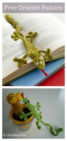 This adorable crochet gecko bookmark is the perfect little gift for any book lover. This funky Gecko Bookmark FREE Crochet Pattern is fast and fun to make. Quick Crochet, Basic Crochet Stitches, Free Crochet, Simple Crochet, Knit Crochet, Easy Crochet Bookmarks, Crochet Bookmark Pattern, Knitting Patterns, Crochet Patterns