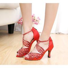 Zapatos de baile(Negro / Rojo / Otro) -Latino / Salón-Personalizables-Tacón…