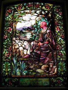Description: Boston, Massachusetts (MA): Arlington Street Church: The Good Shepherd (Tiffany stained glass memorial window, designed c1898)