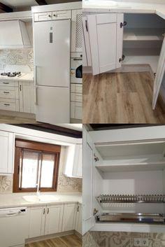 Cocina de capada con electrodomésticos en blanco. Kitchen Cabinets, Home Decor, Products, White People, Cooking, Decoration Home, Room Decor, Kitchen Base Cabinets, Dressers