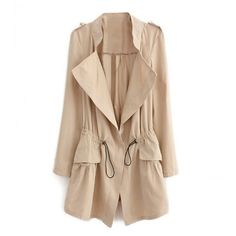 Drawstring Waist Trench Coat With Pleat Detail (865 UYU) ❤ liked on Polyvore featuring outerwear, coats, jackets, beige coat, beige moto jacket, moto jacket, trench coats and biker jacket