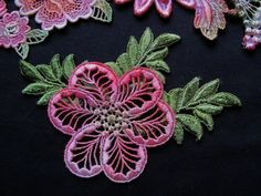 Coral Green Flower Leaves Hand Dyed Venise Lace by RavioleeDreams, $5.00
