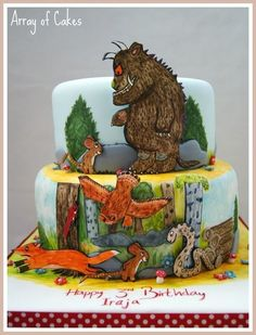 Gruffalo Birthday Cake Cake by Arrayofcakes Gruffalo Party, The Gruffalo, Little Girl Birthday, 2nd Birthday, Twin Boys Birthdays, Cake Pop Designs, Dinosaur Birthday Cakes, Tree Cakes, Painted Cakes
