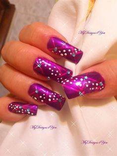 Purple Christmas Nail Design-crazy long but pretty