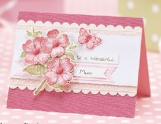handmade Mother's Day card ... pretty pinks ... gorgeous stamped, cut and shaped flowers ... Stampin'Up!