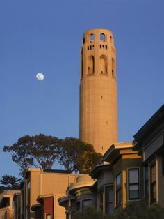 Coit Tower with Moon, San Francisco. Filled with Depression era Art. San Francisco Art, Lake Mead, Valley Of Fire, Us Road Trip, Clear Blue Sky, Us National Parks, Paris Hotels, Best Photographers, Plan Your Trip