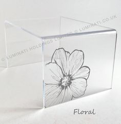 laser etched acrylic table with floral design by acrylic furniture designers luminati acrylic furniture uk