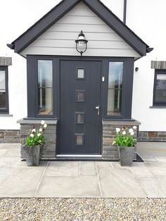 Ideas House Front Modern Ideas House Front Modern Porches houseAnthracite composite front door and Marley Cedral cladding in light grey on new .Anthracite composite front door and Marley Cedral cladding in light grey Porch Uk, Front Door Porch, Porch Doors, Front Porch Design, House Front Door, House With Porch, House Entrance, Front Door Entrance, Entrance Design