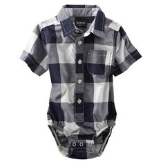 Button-Front Buffalo Check Bodysuit