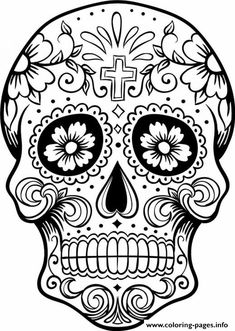 print intricating sugar skull printable for adults coloring pages