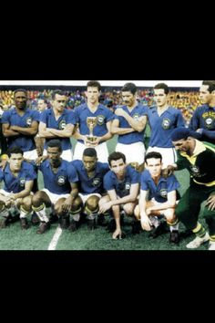 Seleccion de Brasil campeones del mundo de la copa Suecia 1958, el debut de Pele.