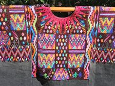 SALE - Hand-Woven Vintage Guatemalan Huipil - Chichicastenango - Beautiful Multicolored Geometrics o Weaving Process, Hand Weaving, Feathered Serpent, Guatemalan Textiles, Black Satin, Maya, Clothing, People, Pattern