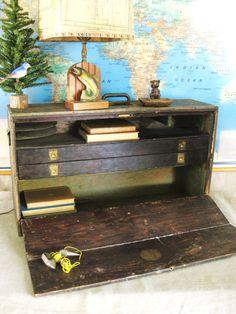 Antique field desk via wilshepherd on Etsy
