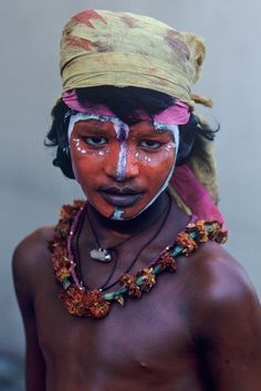 Indian boy with painted face