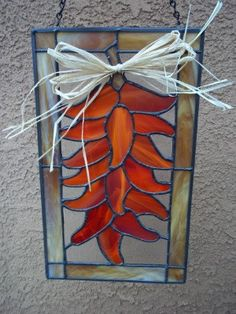 HANDMADE STAINED GLASS - Large Red Hot Chile Chili Pepper Ristra Stained Glass Window, Stained Glass Suncatcher, Stained Glass Decor, Chilis...