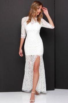 Gorgeous Ivory Dress - Lace Dress - Half Sleeve Dress - Maxi Dress - $57.00