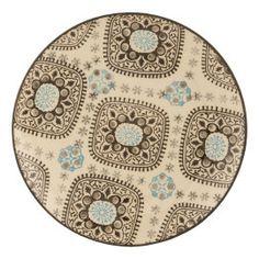 Bord van Clayre & Eef met een print in zwart/bruin en lichtblauw. ;Mooi te comineren met zwart servies en accessoires.Afmetingen:Ø 20 cm ;