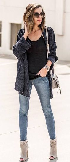 fall trends | cardigan + bag + top + skinny jeans + boots