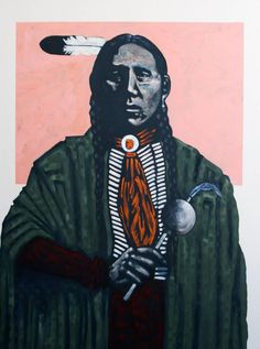 """""""Fix with Rattle - Kiowa""""   From a unique collection of portrait paintings at https://www.1stdibs.com/art/paintings/portrait-paintings/"""