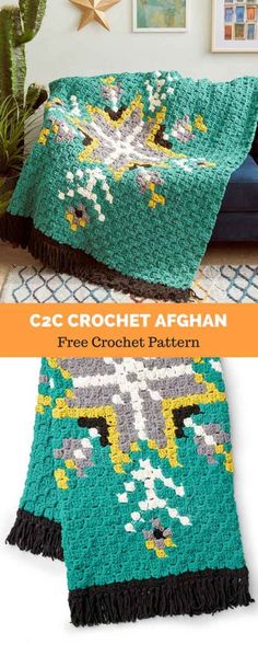 Love this Afghan blanket – another free pattern we've found! Crochet Quilt, Tapestry Crochet, Crochet Squares, Crochet Home, Crochet Baby, Crochet Blankets, Crochet Style, C2c Crochet Blanket, Crochet Crowd