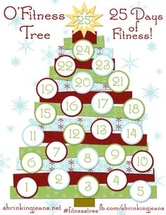 O' Fitness Tree - print out this fun fitness advent calendar and get moving today! #fitness #fun #printable