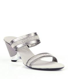 Pewter:Onex Stunning Jeweled Metallic Leather Wedge Dress Sandals