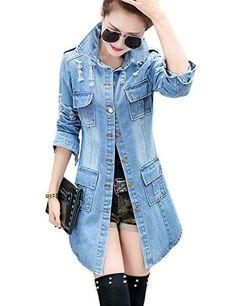 Tanming Women's Casual Lapel Slim Long Sleeve Denim Outercoat Jacket Windbreaker (X-Large, Blue)