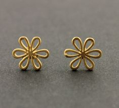 Sterling Silver Studs, w Petals Studs with Ear nuts, Sold AS 1 Pair India Jewelry, Gold Jewelry, Jewelery, Small Earrings, Girls Earrings, Gold Earrings Designs, Metal, Designer Earrings, Studs