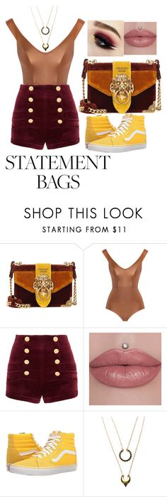 """""""Statement Bags: Griffindor"""" by disney-geek-forever on Polyvore featuring Prada, Zimmermann, Pierre Balmain, Vans and WithChic"""
