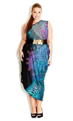 City Chic - PRINTED ONE SHOULDER DRESS - Women's plus size fashion #citychic #citychiconline #newarrivals #plussize #dresses