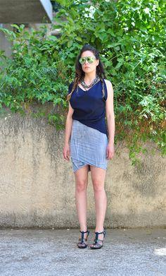 Twisted hem skirt Asymmetrical Draped Miniskirt by NikiZaimi, $58.50