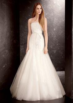 White by Vera Wang Organza Trumpet Wedding Dress VW351177