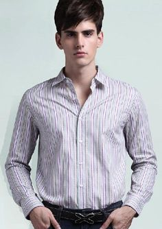 Colorful Stripe Leisure Fitted Men Shirts 2013