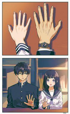 Oreki and Chitanda Anime Couples Drawings, Anime Couples Manga, Anime Couples Sleeping, Anime Couples Hugging, Anime Couples Cuddling, Romantic Anime Couples, Anime Love Couple, I Love Anime, Manga Couple