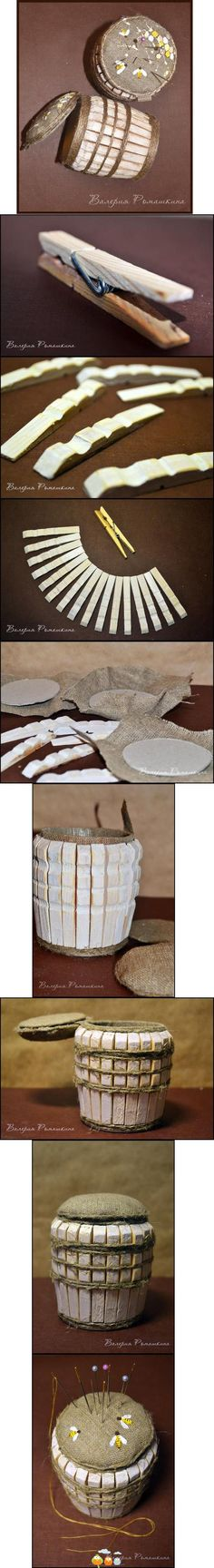 Picture TUTE for a little wood barrel made out of clothespins