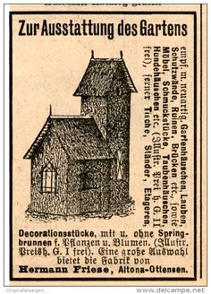 Original-Werbung/Inserat/ Anzeige 1899 - GARTEN-DECORATION / HERMANN FRIESE ALTONA-OTTENSEN - ca. 70 x 45 mm
