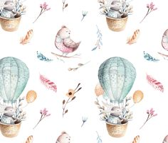 Watercolor bunny and bird 2 fabric by peace_shop on Spoonflower - custom fabric
