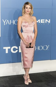 Emma Roberts wearing a pink Katie Ermilio strapless dress at the New York X-Men: Days of Future Past premiere