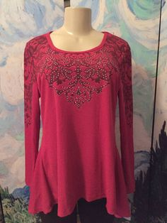 UNITY WORLD WEAR M NEW RED STUDS TEXTURED ROUND NECK HI-LO 3/4 SLEEVE TUNIC TOP #UNITYWORLDWEAR #Tunic #Casual