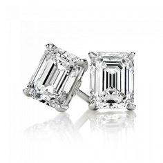 3TCW Emerald Cut Russian Lab Diamond Earrings Birthday Graduation Wedding Anniversary