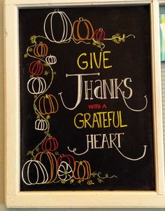 Chalkboard sign, thankful for another fall together!