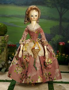 "Outstanding 18th Century English Wooden Doll ""Nellie"" in Grand Size, Provenance 26,000/42,000"