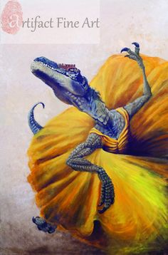 """Small (~7x10"""") Limited Edition Archival Giclee Print of """"Yellow""""  Dinosaur in a yellow dress"""