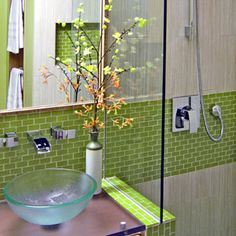 green. recycled. glass. tile.