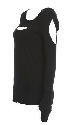 Faye Top (black)-Modern long sleeve backless top simple yet effective