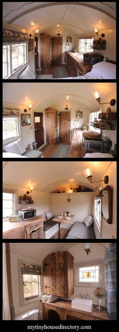We are loving The Mill Hut! The craftsmanship and attention to detail makes this Sheppard Hut a lovely space. Shepherds Hut, Tiny Spaces, Tiny House Living, Tiny House Plans, Tiny House Design, Small Space Living, House On Wheels, Airstream, Little Houses