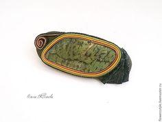 Купить Заколка автомат из кожи со змеевиком Зеленая лесная украшения для воло - оливковый