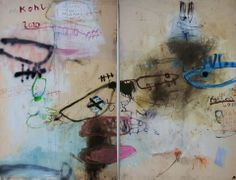 """Peter Kohl, """"schatten an der wand - shadows on the wall"""" mixed media on canvas, 170 x 220 cm, 2010;"""