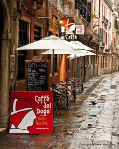 Cafe de Doge Venetian Cafe, Venice, Italy 8x10 Photograph cityscape, colorful, travel photography