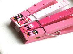 HOT PINK OWLS hand painted magnetic clothespins by SugarAndPaint, $10.00